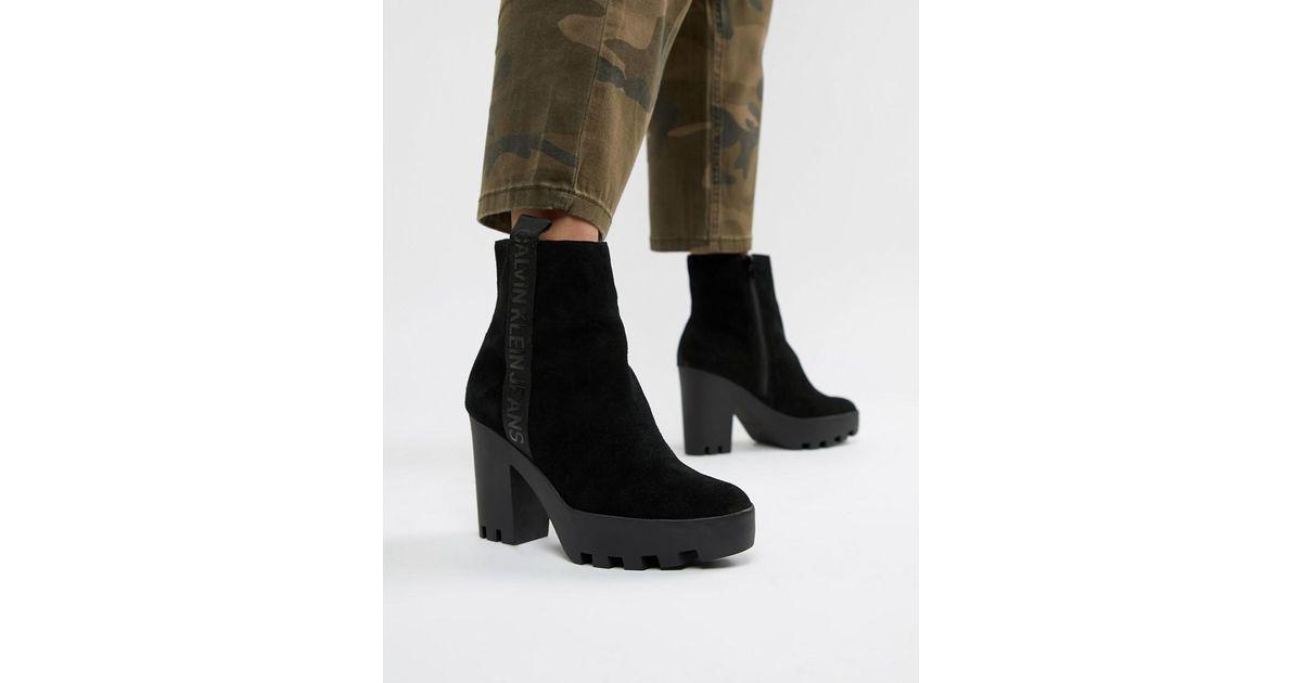 30b102802742 Calvin Klein Serina Black Suede Heeled Chelsea Boots in Black - Lyst