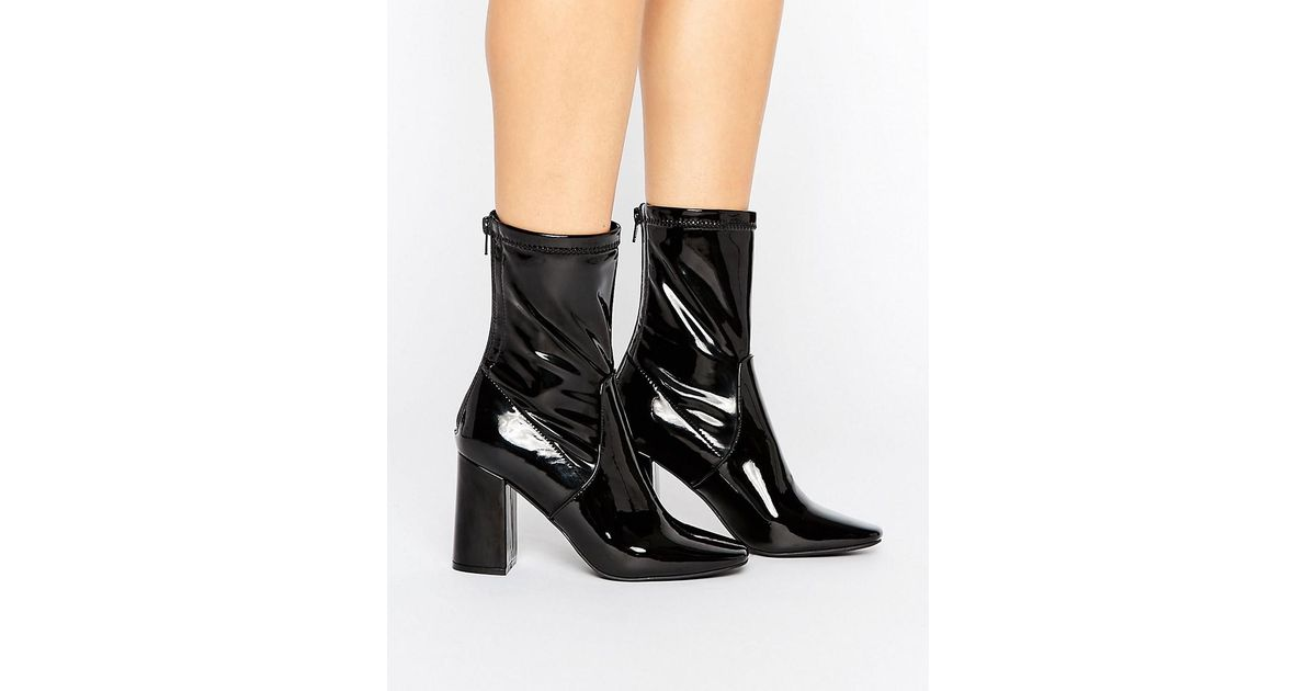74333f242842 Lyst - New Look Patent Heeled Ankle Boot in Black