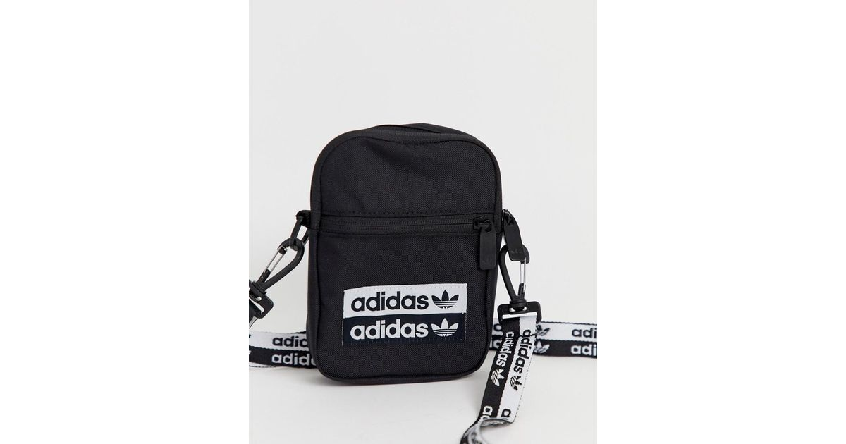 Adidas Originals Black Ryv Mini Multiway Festival Bag With Logo Taping