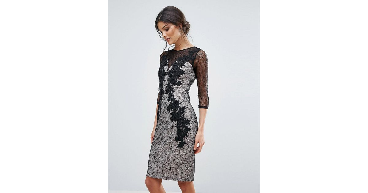 Lyst little mistress lace applique bodycon dress in black