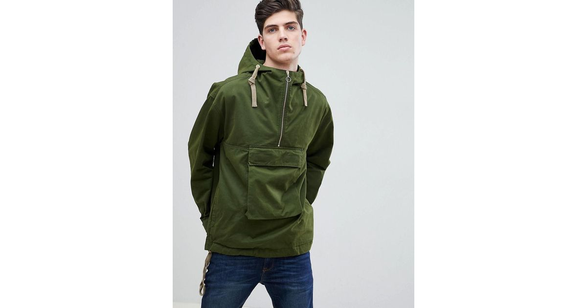 59d1a4bfbe Mango Green Man Hooded Pouch Pocket Jacket In Khaki for men