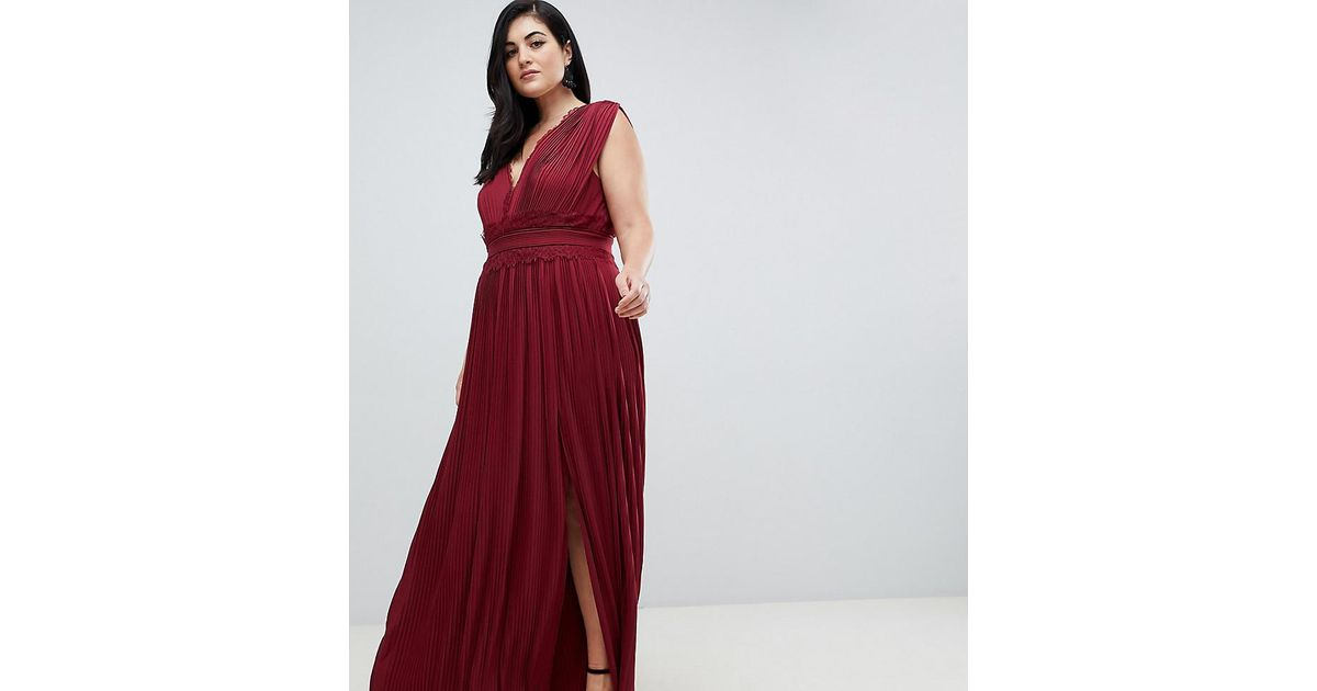 ae716e6046 ASOS Asos Design Curve Premium Lace Insert Pleated Maxi Skater Dress in Red  - Lyst