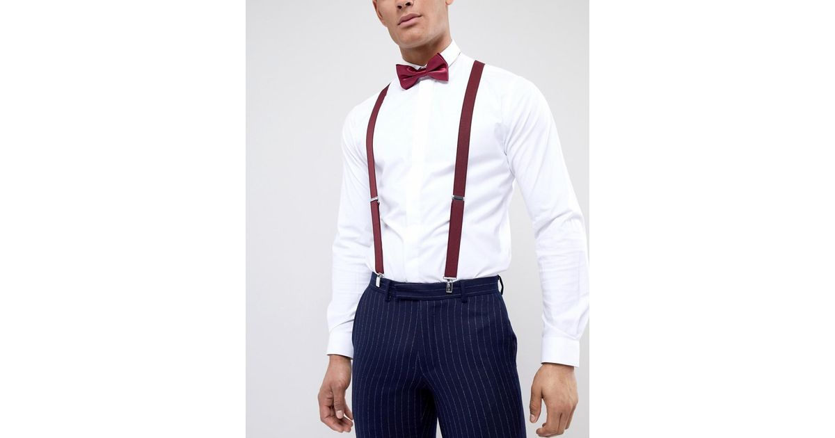 108072a832191 ASOS Wedding Suspender And Bow Tie Set With Contrast Back In Burgundy And  Navy in Red for Men - Lyst