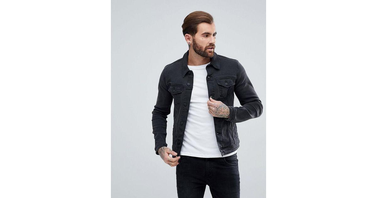 a0d26f5ab4b2 Lyst - ASOS Super Skinny Denim Jacket In Black in Black for Men