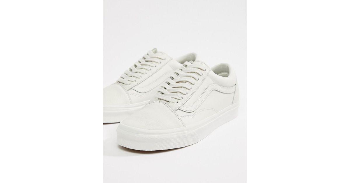 44d3b108aba6 Vans Leather Old Skool Trainers In White Va38g1rz5 in White for Men - Lyst