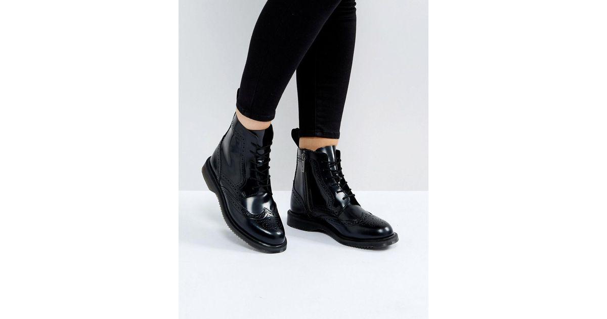 b94240849fe Dr. Martens Kensington Delphine Brogue Black Lace Up Ankle Boots