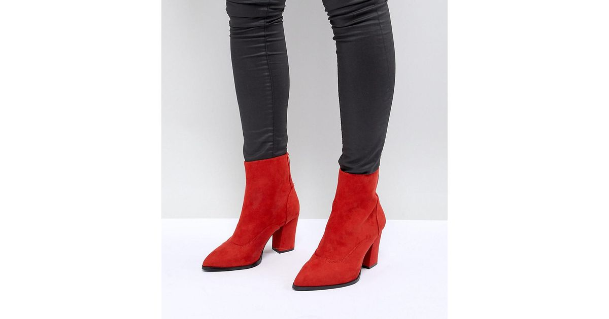 Wide Fit Pointed Heeled Ankle Boots