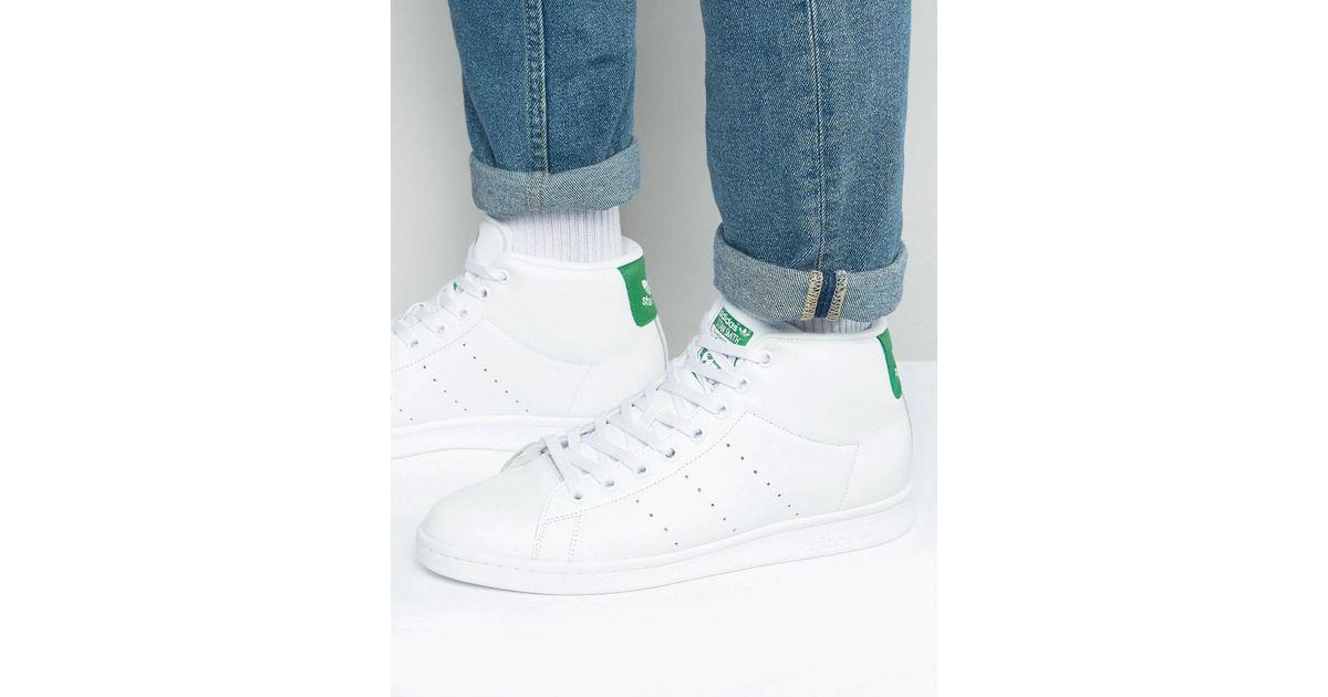 eeb84e0e14b Adidas Originals Stan Smith Mid Sneakers In White Bb0069 in White - Lyst