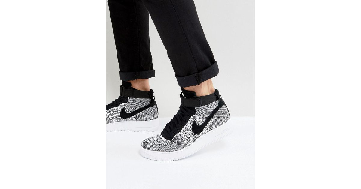 wholesale dealer 65c4d ff0c3 Nike Air Force 1 Flyknit Mid Trainers In Black 817420-005 for men