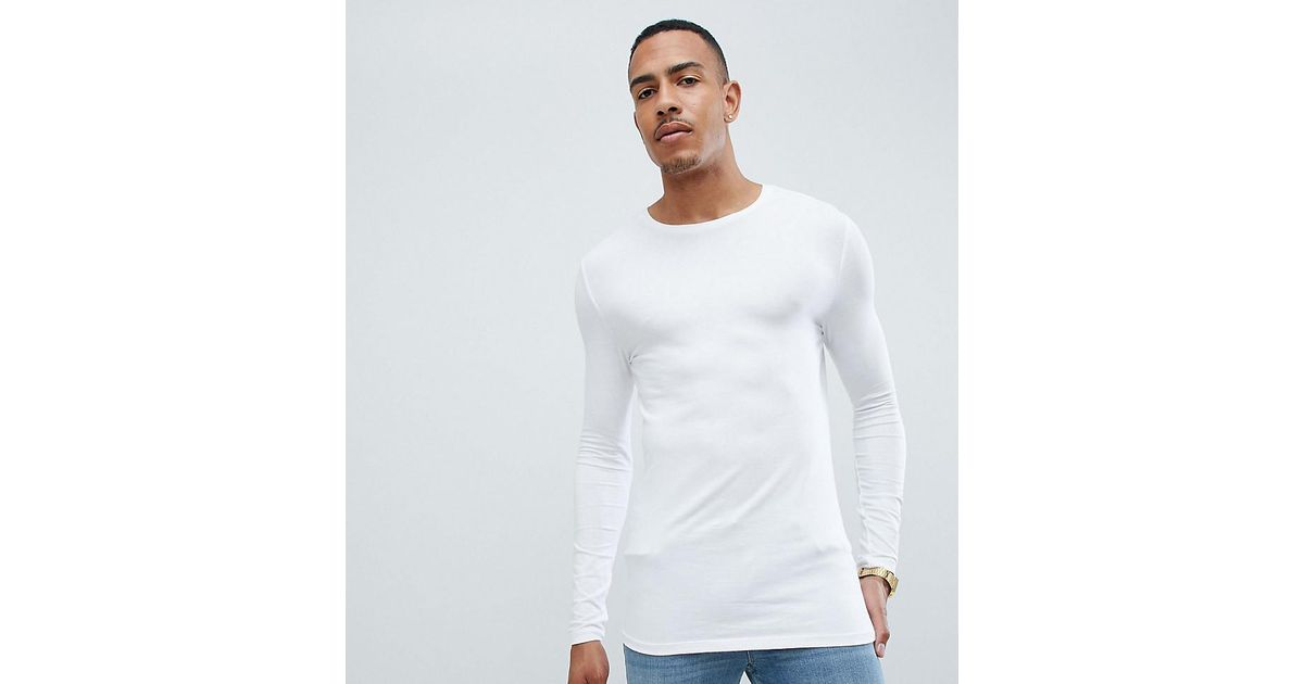 49f4f683d4dc Lyst - ASOS Tall Muscle Fit Long Sleeve T-shirt With Crew Neck In White in  White for Men