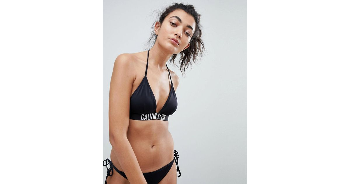 79d44da06c3b4 Calvin Klein Fixed Triangle Logo Bikini Top in Black - Lyst