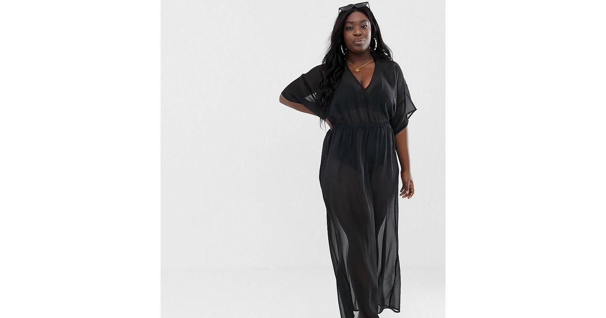 b51afa7a4ba Lyst - ASOS Asos Design Curve Recycled Kimono Sleeve Tie Back Chiffon Maxi  Beach Dress In Black in Black