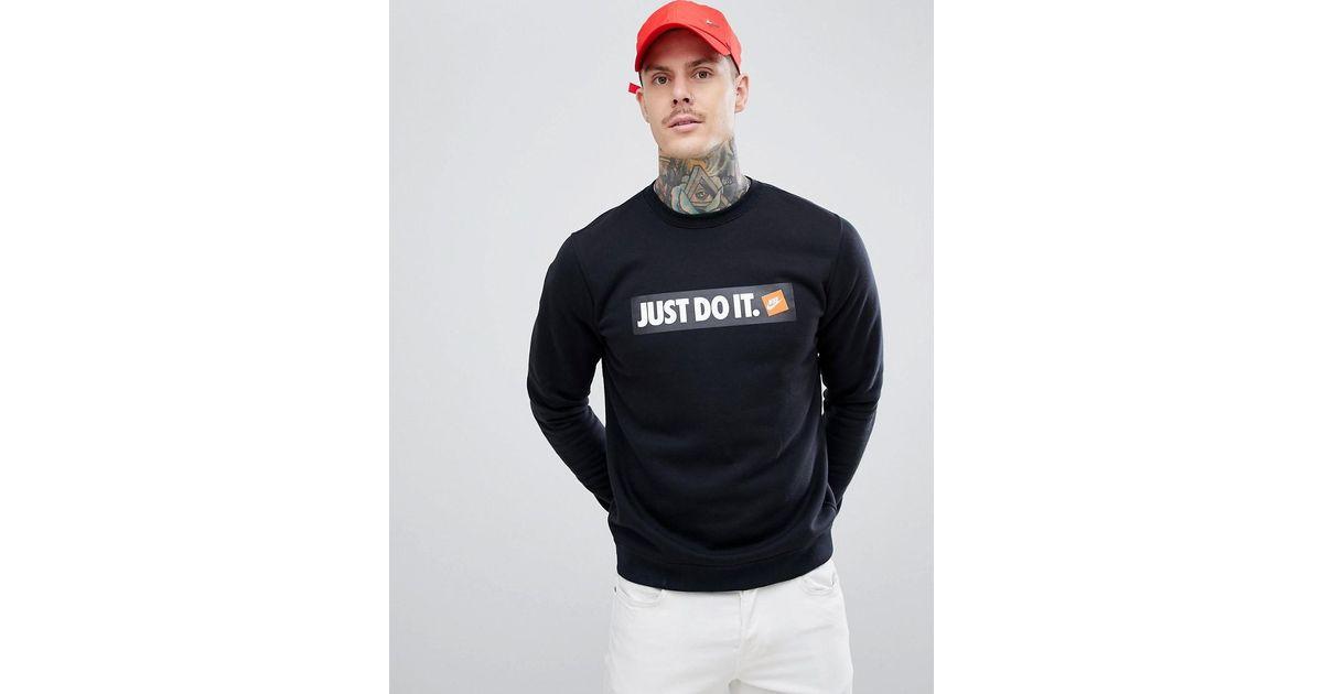 46f83747 Nike Just Do It Box Logo Sweatshirt In Black 928699-010 in Black for Men -  Lyst