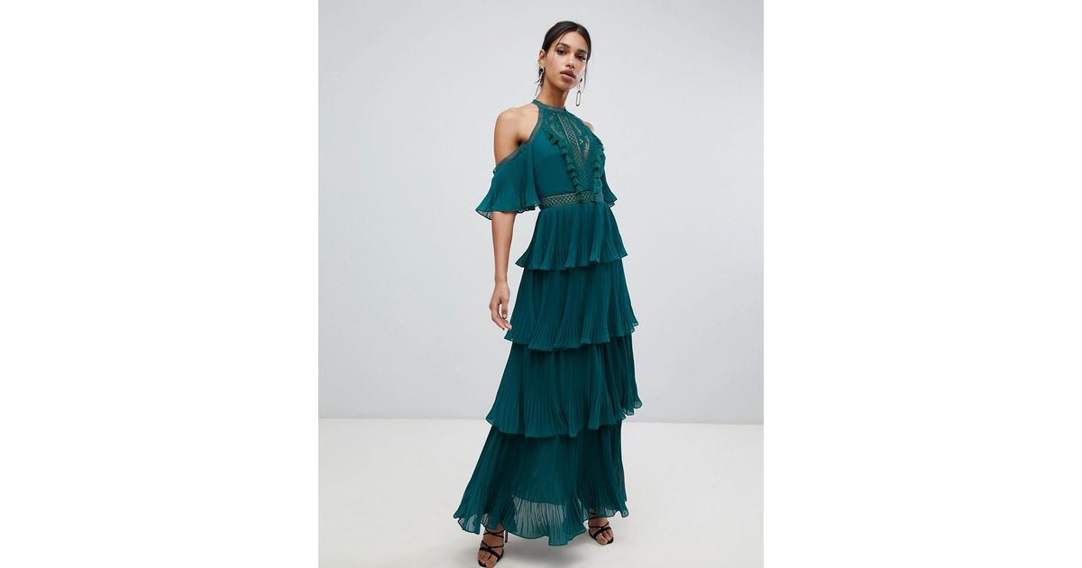 db6b0fdb0 True Decadence Cold Shoulder Tiered Maxi Dress With Tassel Detail In Forest  Green in Green - Lyst