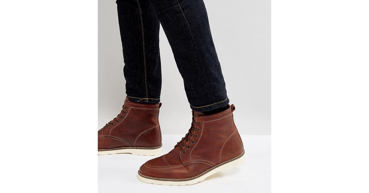 Outlet Good Selling Shopping Online For Sale Wide Fit Lace Up Boots In Brown Leather With White Sole - Brown Asos 6pi2zOEOD