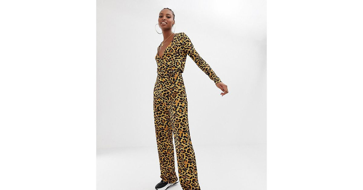66d5cb79a75 Lyst - Collusion Wrap Front Jumpsuit In Leopard Print - Save 11%