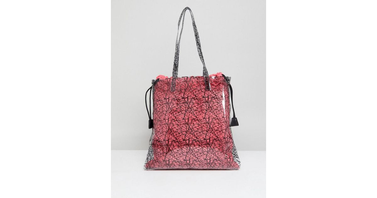 DESIGN Printed Clear Shopper Bag With Bright Canvas Pouch - Pink Asos bWJrV