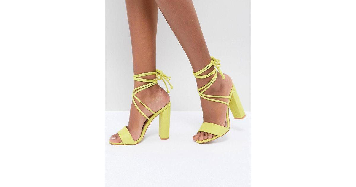 7bad1a6f2c0 Lyst - Public Desire Suzu Chartreuse Tie Up Block Heeled Sandals in Yellow