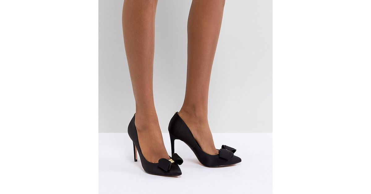 793d9e8ca94 Lyst - Ted Baker Azeline Heeled Bow Shoe in Black