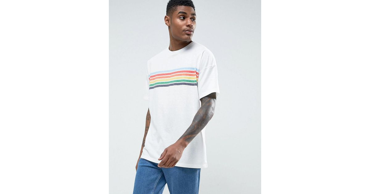 2a2bdbadf36 ASOS Asos Oversized T-shirt With Chest Rainbow Stripe in White for Men -  Lyst