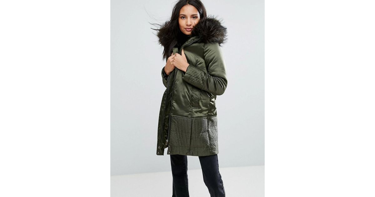 Urbancode Parka Coat With Stitching Detail And Faux Fur Hood in ...