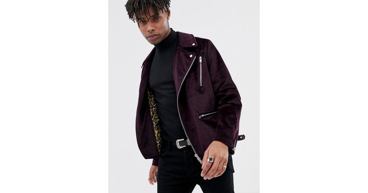 89b9ff550b46a ASOS Purple Velour Biker Jacket in Purple for Men - Lyst