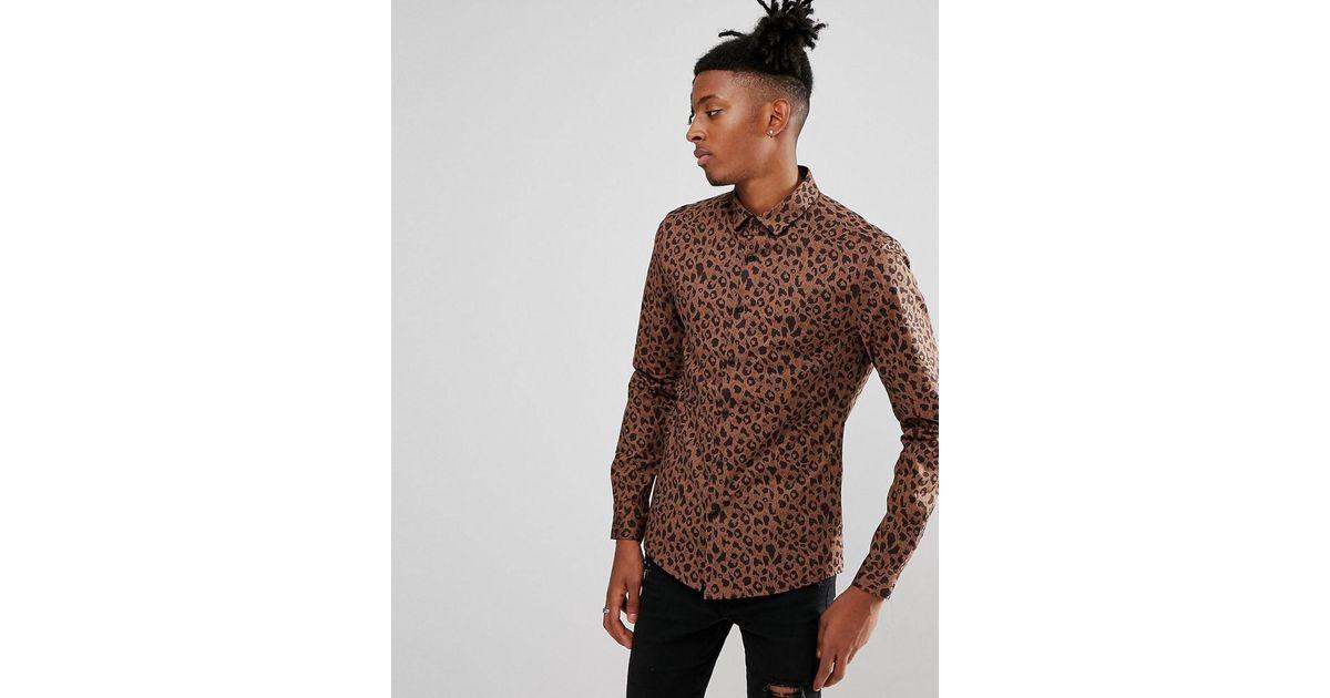 11c3fdca70d8 Lyst - ASOS Design Skinny Fit Shirt In Leopard Print in Brown for Men