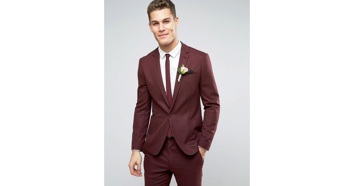 Asos Wedding Skinny Suit Jacket In Burgundy Micro Texture in Red ...