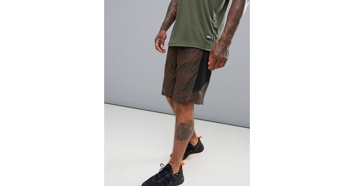 be5ca9ac49 PUMA Green Training Vent Knit 10 Inch Shorts In Khaki 516859-02 for men