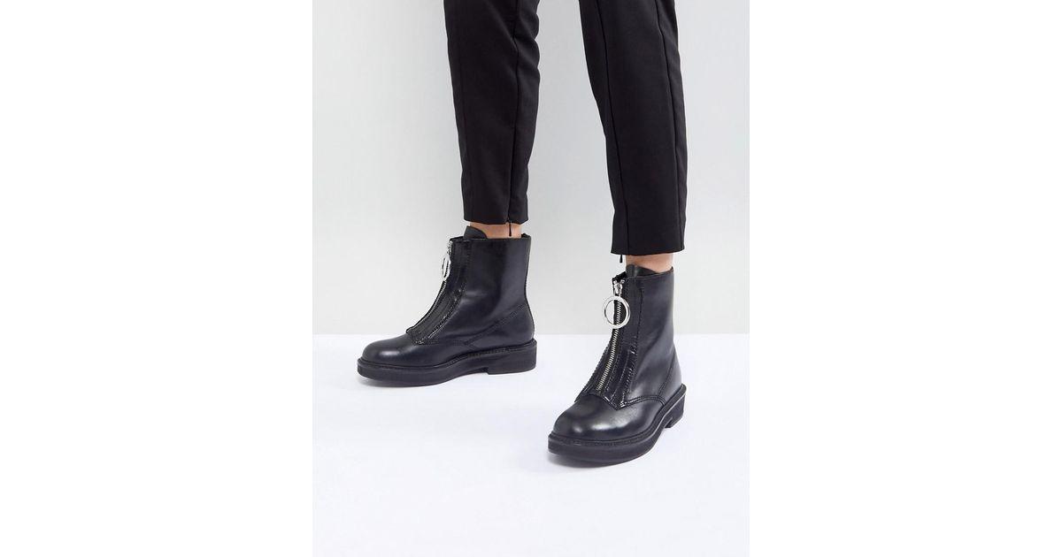 Mango Denim Zip Front Ankle Boot in