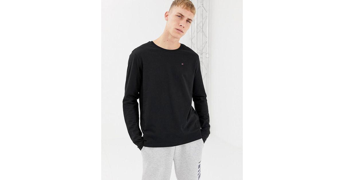 c4a4dd2c162da Lyst - Tommy Hilfiger Flag Long Sleeve Top In Organic Cotton In Black in  Black for Men