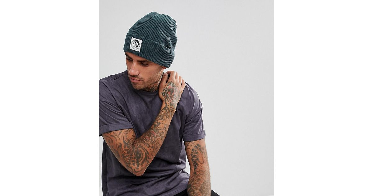 e37140d7764 Lyst - DIESEL Beanie With Patch Logo in Green for Men