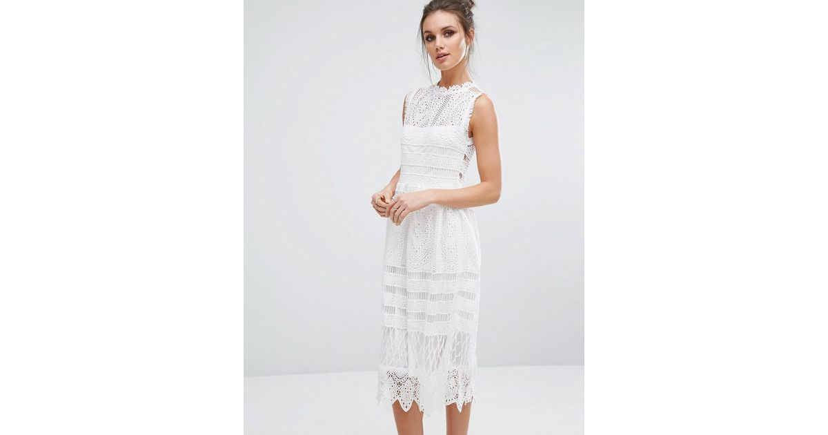 Boohoo White Lace Midi Skater Dress