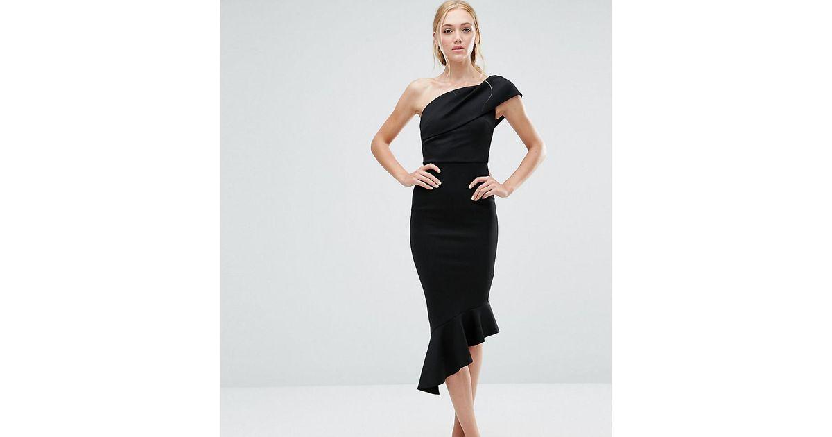 996e42d3d2bb Lyst - ASOS Scuba One Shoulder Peplum Midi Dress in Black
