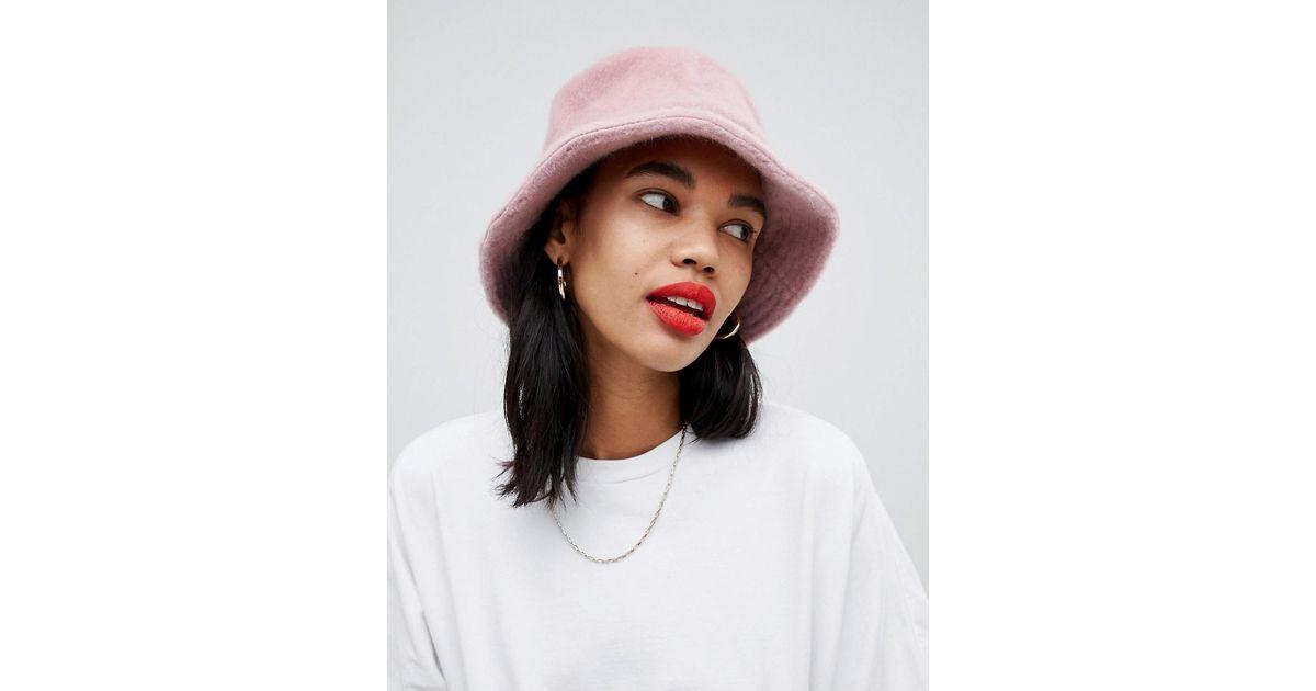 53cbf07ee ASOS Pink Fluffy Bucket Hat