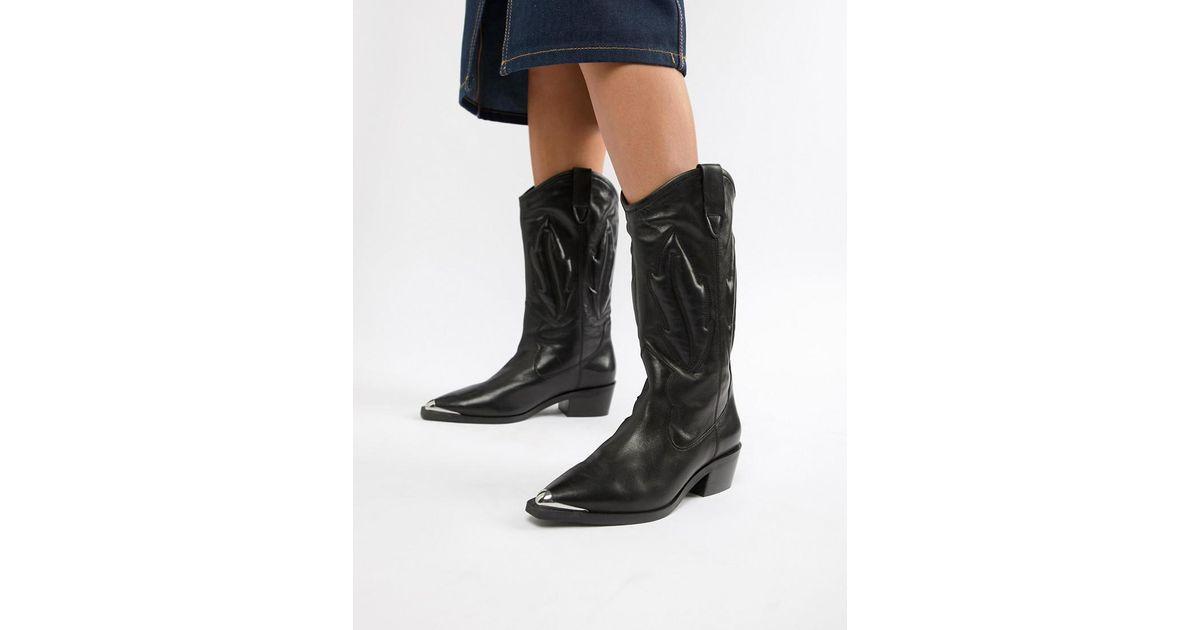 54a5175e9a9 ASOS Black Caleb Leather Western Knee Boots