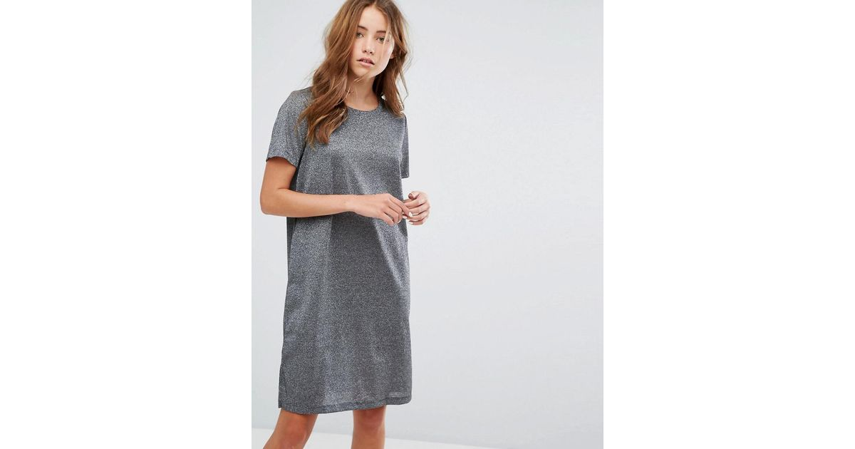 30f324731954 Lyst - Vila Metallic T-shirt Dress in Gray
