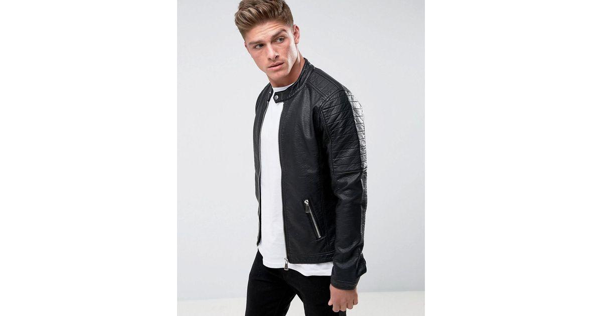 5d073f82a Barney's Originals Black Faux Leather Ribbed Biker Jacket for men