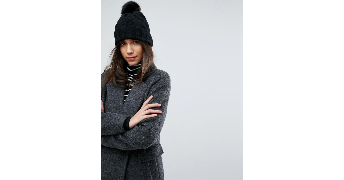 new style 947c5 b60c5 Polo Ralph Lauren Black Cable Knit Cashmere Mix Hat With Faux Fur Pompom