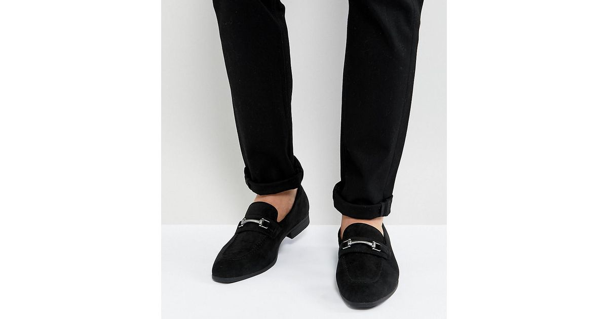 ASOS Loafers In Black Faux Suede With Snaffle Detail