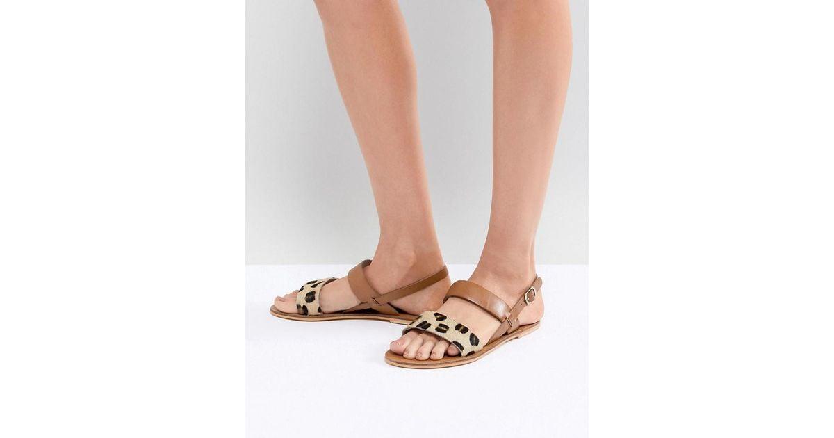Leopard Print Warehouse Strap Brown Sandals Contrast nwk80OXP