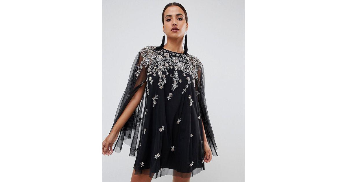Cape Ornemente Robe Fortement Coloris Courte Asos Black En Avec strCdhQ