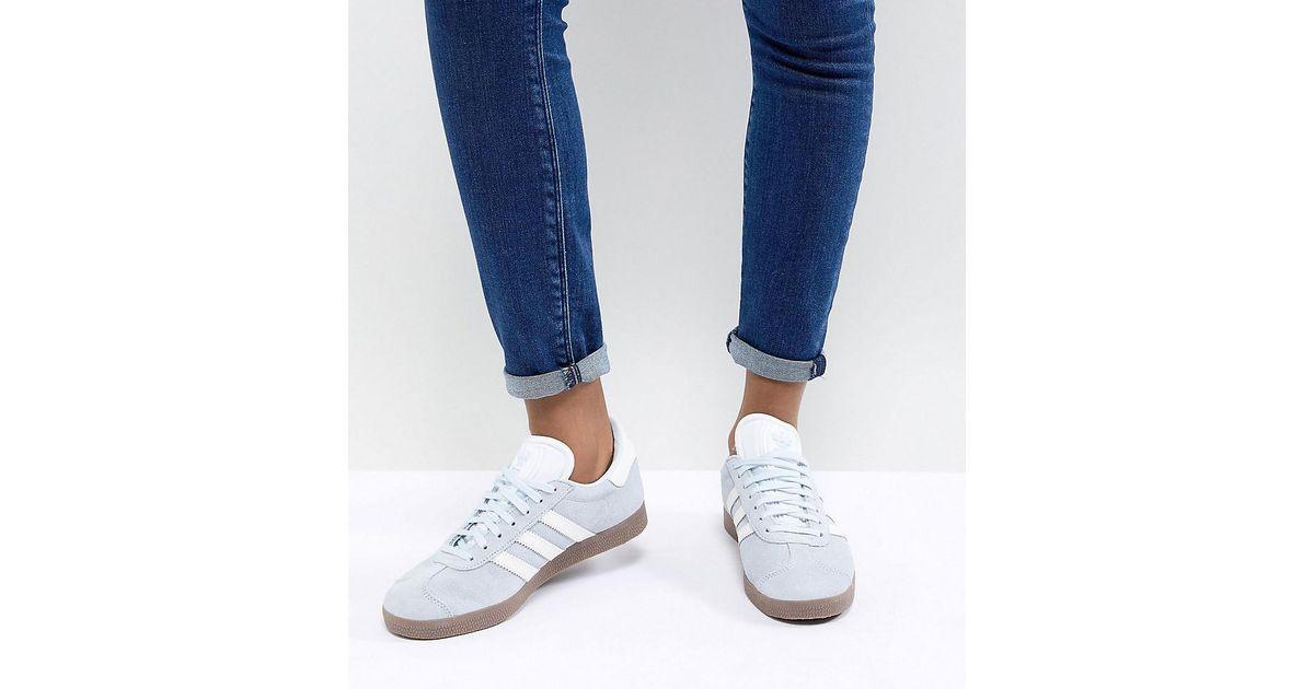 Adidas Originals Gazelle Sneakers In Blue With Dark Gum Sole