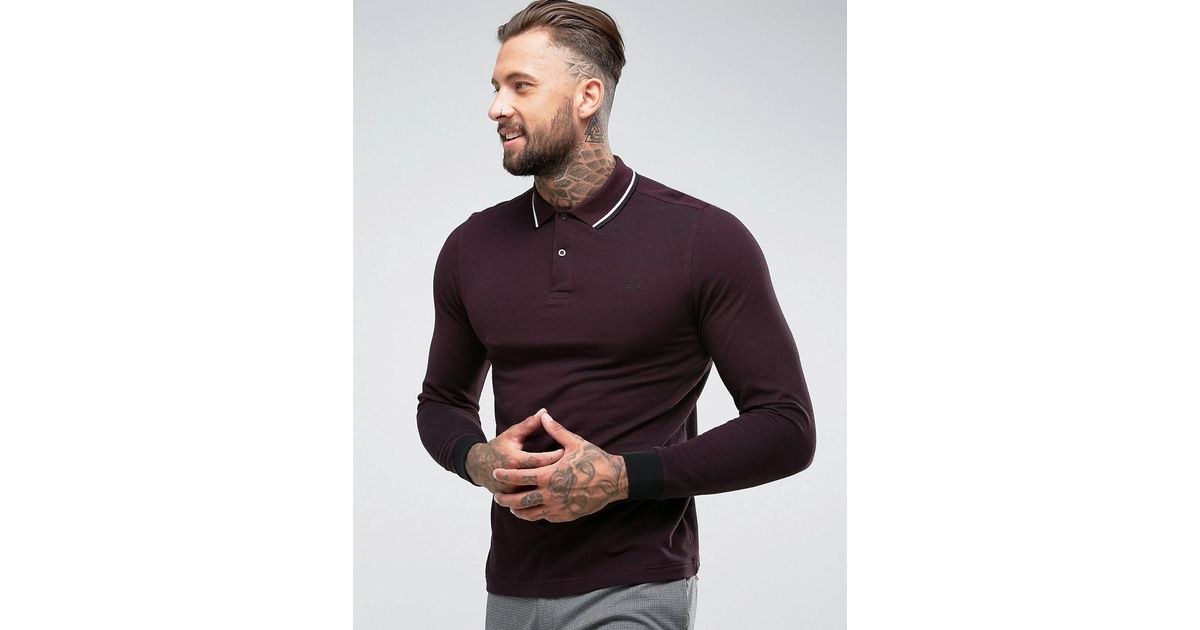 d3856e172 Fred Perry Slim Fit Long Sleeve Tipped Oxford Weave Polo In Burgundy in Red  for Men - Lyst