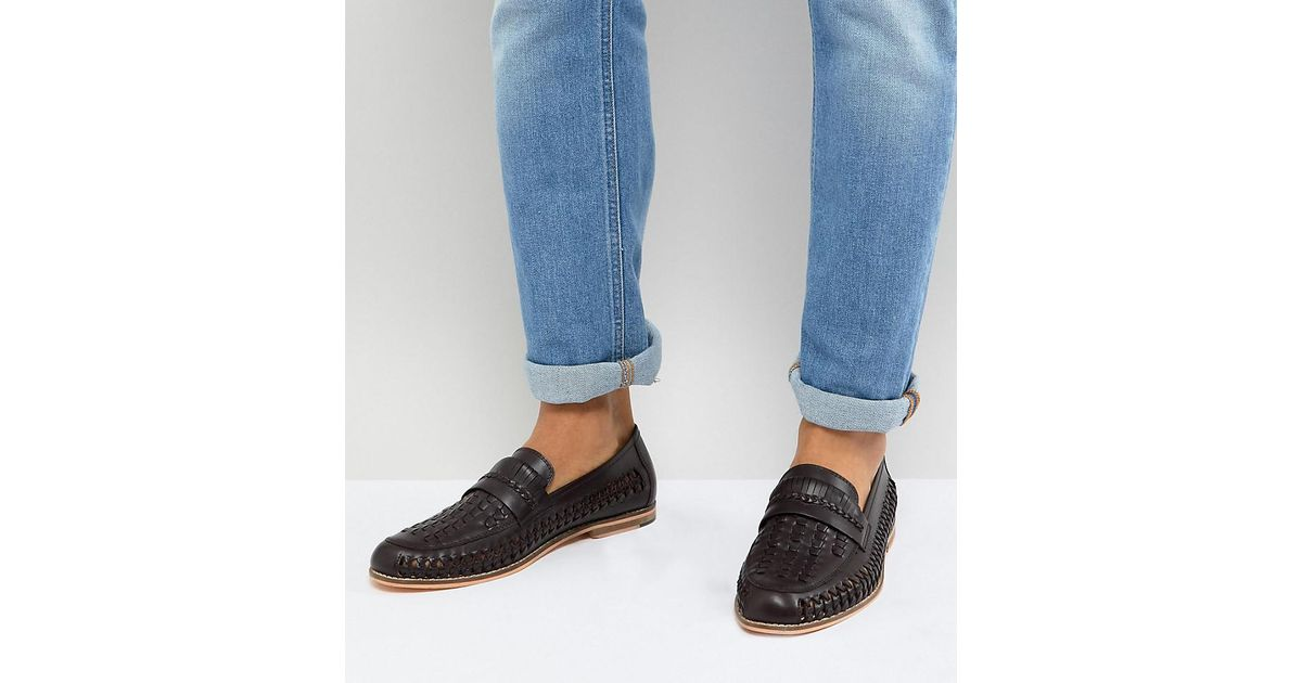 a03db6a8c99 Frank Wright Wide Fit Woven Loafers In Brown Leather in Brown for Men - Lyst