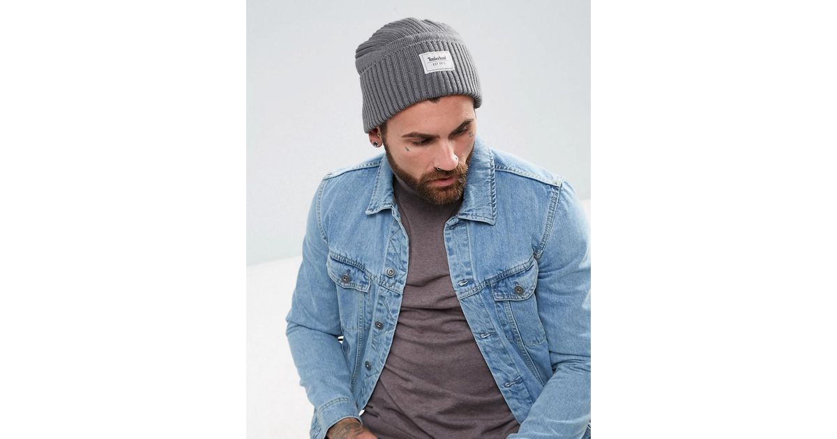 c7e8102b617 Lyst - Timberland Gulf Beach Ribbed Beanie Label Logo In Grey in Gray for  Men