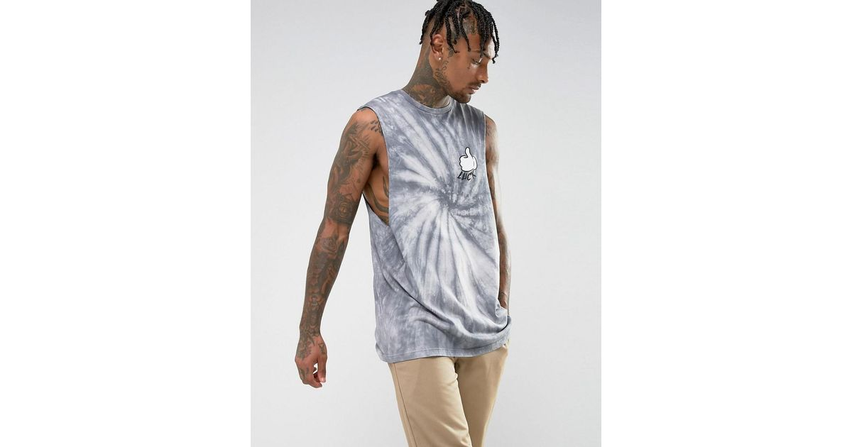 Lyst asos oversized sleeveless t shirt with tie dye and for Tie dye sleeveless shirts