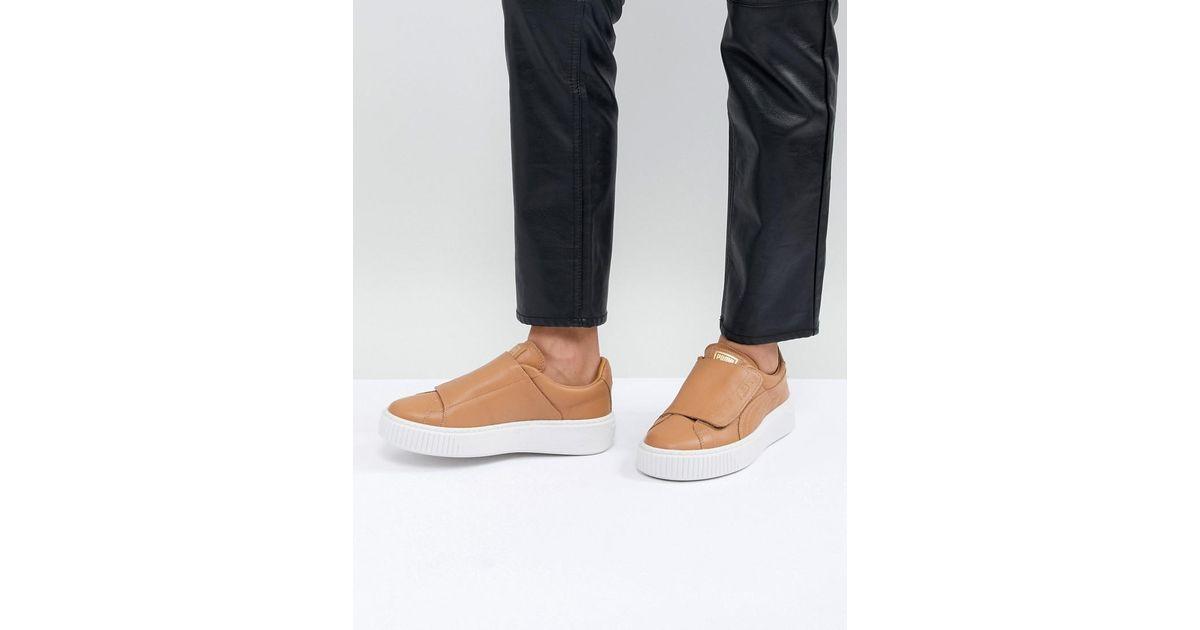 PUMA Brown Basket Platform Strap Sneaker In Tan