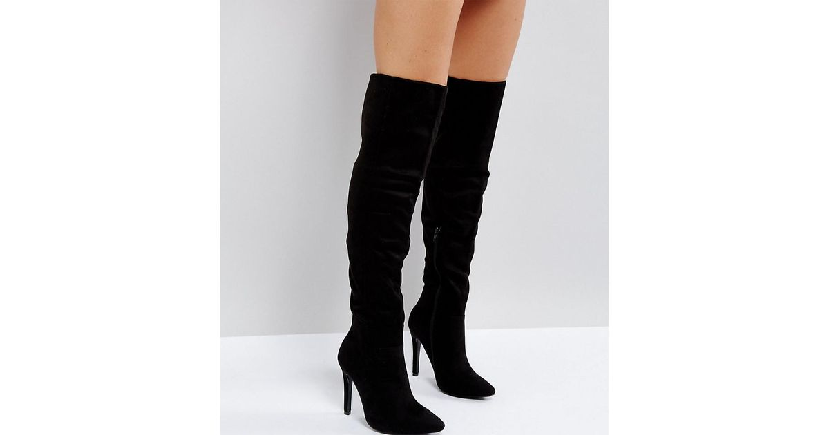 8ab19e0295f Truffle Collection Black Wide Fit Thigh High Stiletto Boot