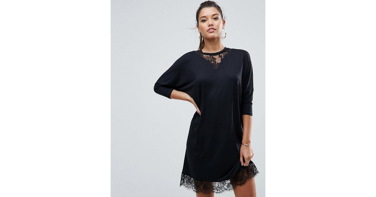 0fda99fd92750 Lyst - ASOS Asos Oversize T-shirt Dress With Batwing Sleeve And Lace Inserts  in Black